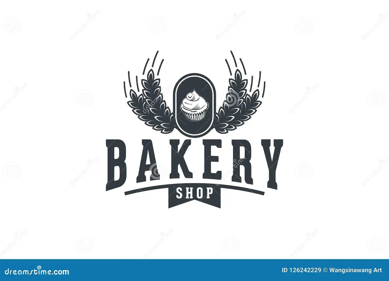 Cupcake And Wheat Vintage Bakery Shop Logo Design Inspiration Stock