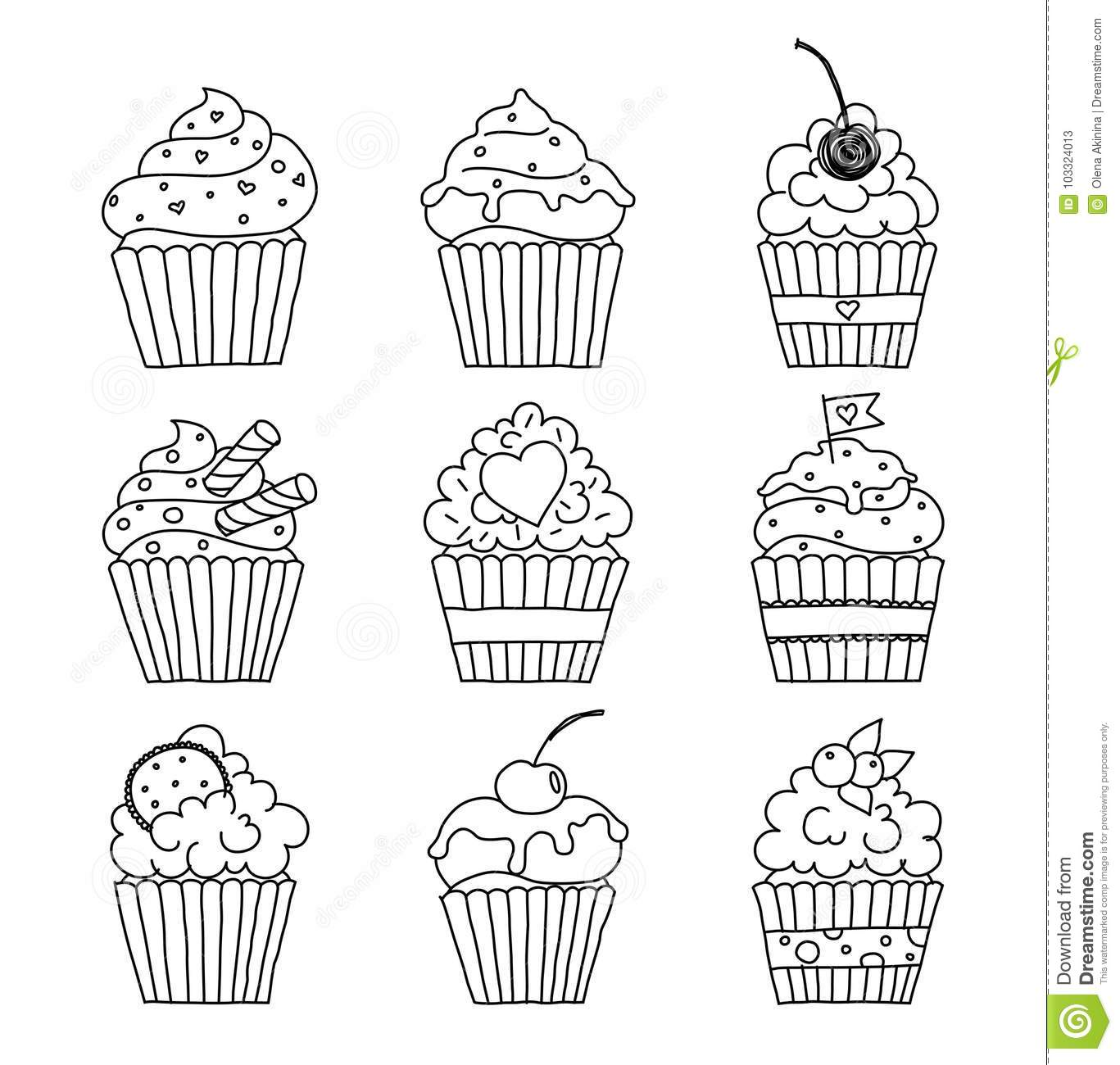 Cupcakes Outline Set Stock Vector Illustration Of Outline