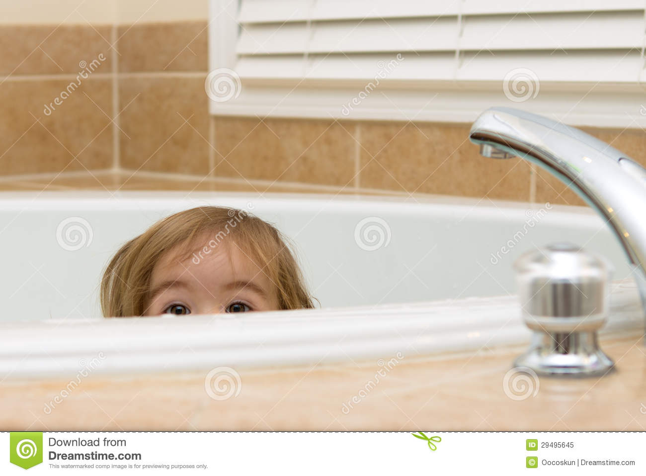 Curious Look In Bathtub Royalty Free Stock Photo Image