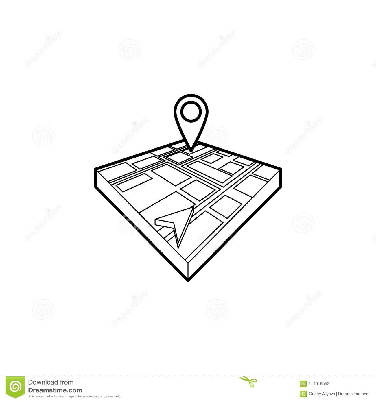 Cursor And Pin On 3d Map Icon Element Of Navigation