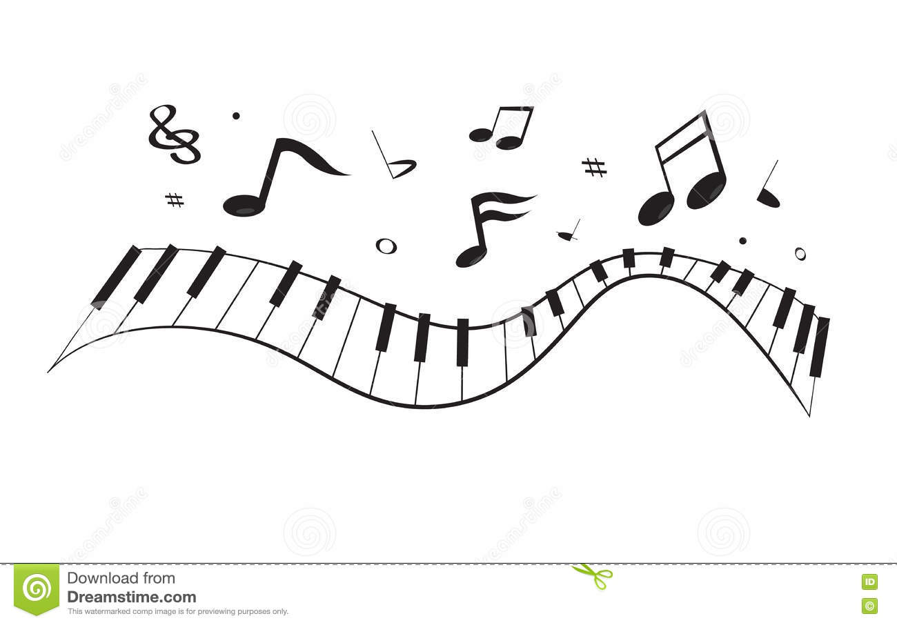 Curve piano with notes stock vector. Illustration of