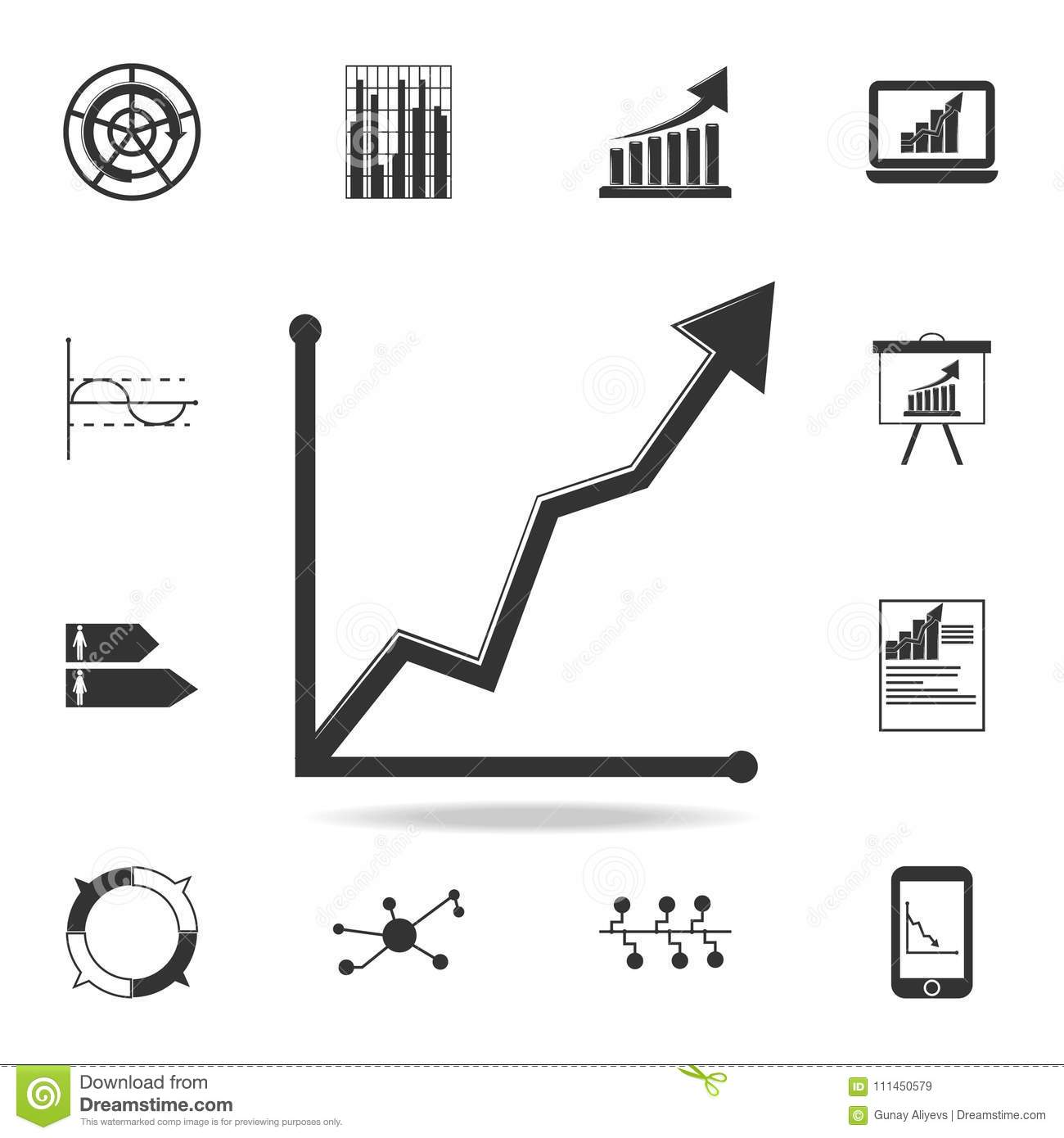 Curved Up Arrow Chart Icon Detailed Set Of Trend Diagram