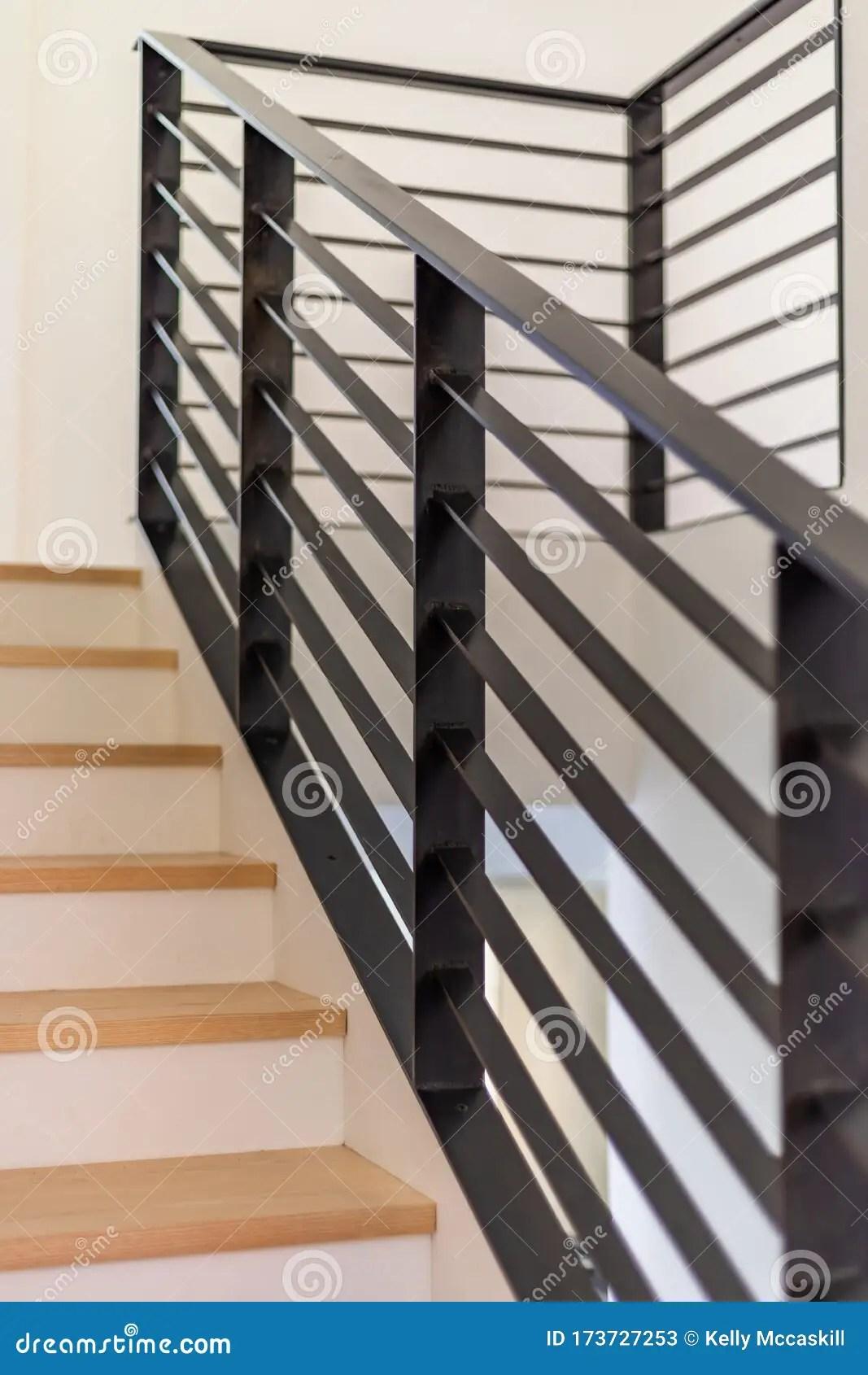 Custom Black Metal Stair Railing Stock Image Image Of Detail | Modern Black Stair Railing | Horizontal | Aluminum | Modern Style | Dark Grey | Matte Black