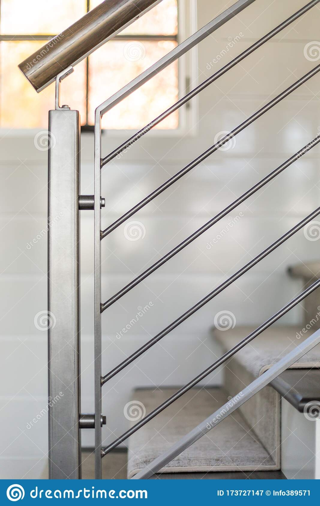 Custom Metal Railing In Modern Farmhouse Stock Image Image Of | Modern Farmhouse Stair Railing | Contemporary | Design Small House | Simple 2Nd Floor Railing Wood Stairs Iron Railing Design | Vintage Farmhouse | Wire