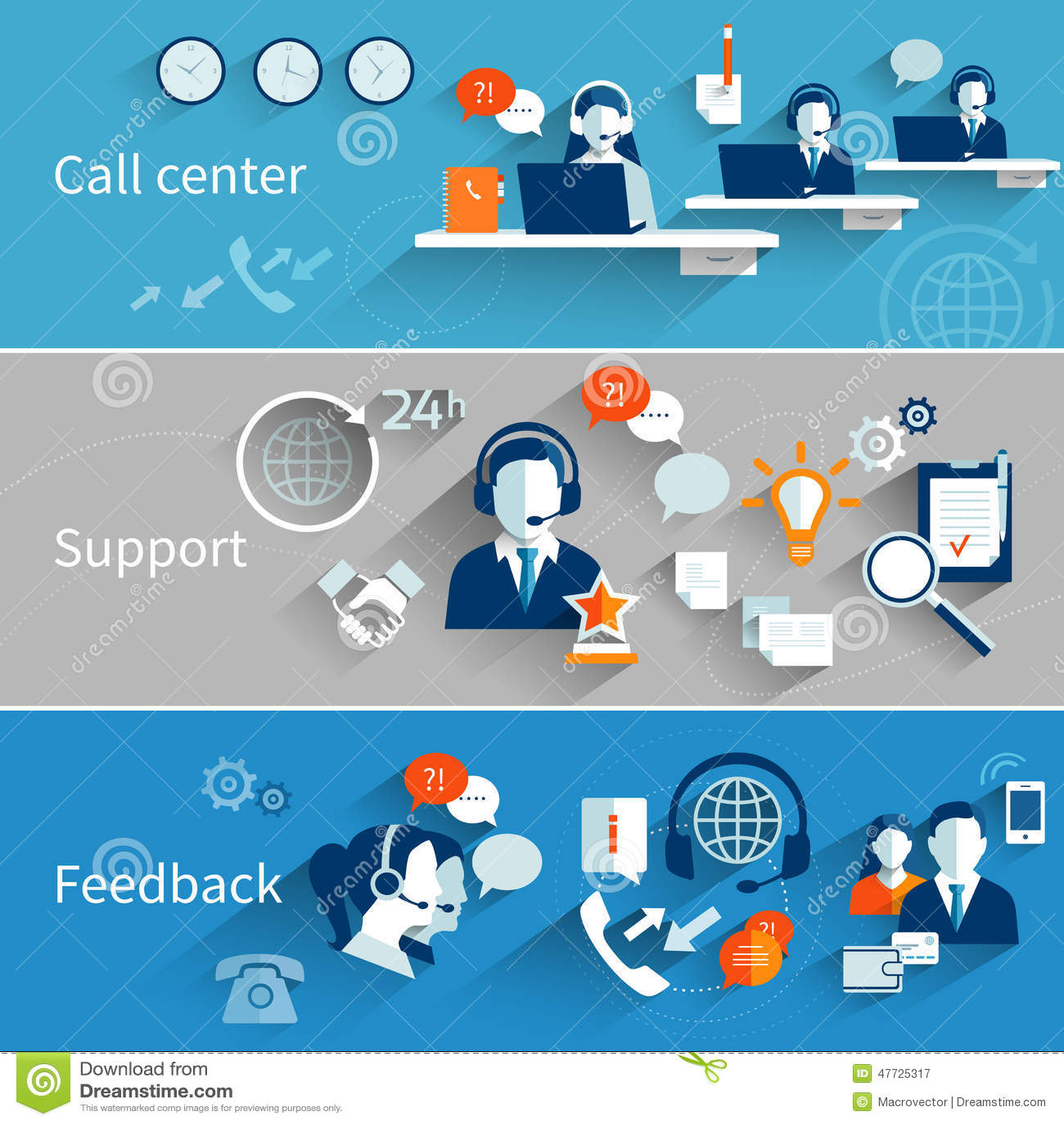 Customer Service Banners stock vector Illustration of design  47725317