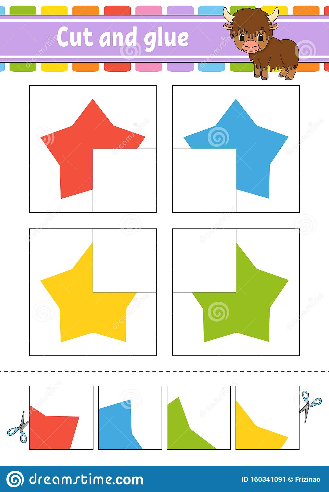 Cut And Glue Four Flash Cards Color Puzzle Education