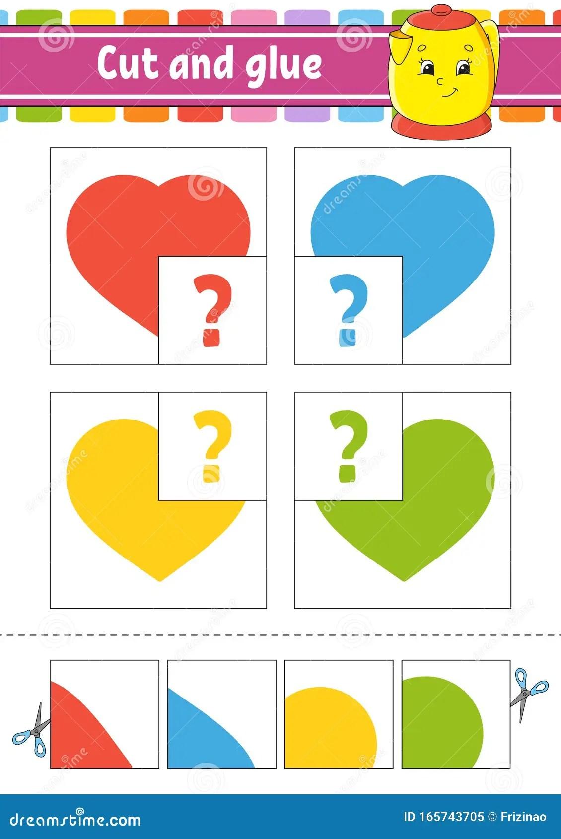 Cut And Glue Four Flash Cards Color Puzzle Education