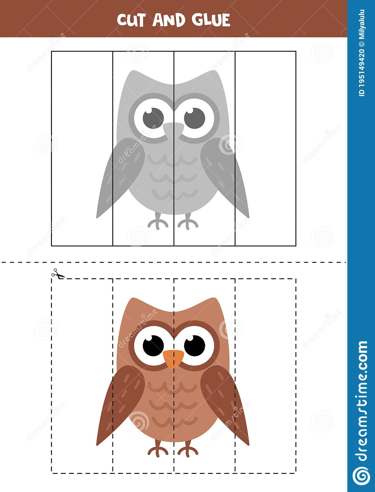 Cut And Glue Game For Kids Cartoon Owl Stock Vector