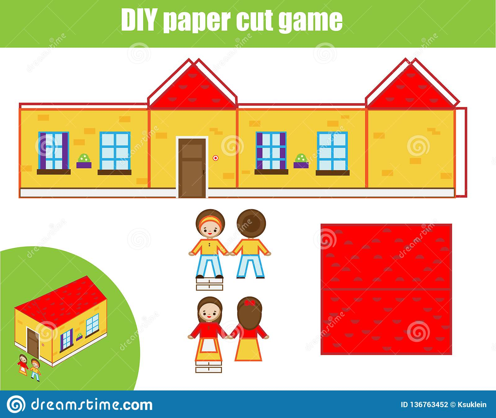 Cut And Glue Paper Game Educational Children Diy Craft