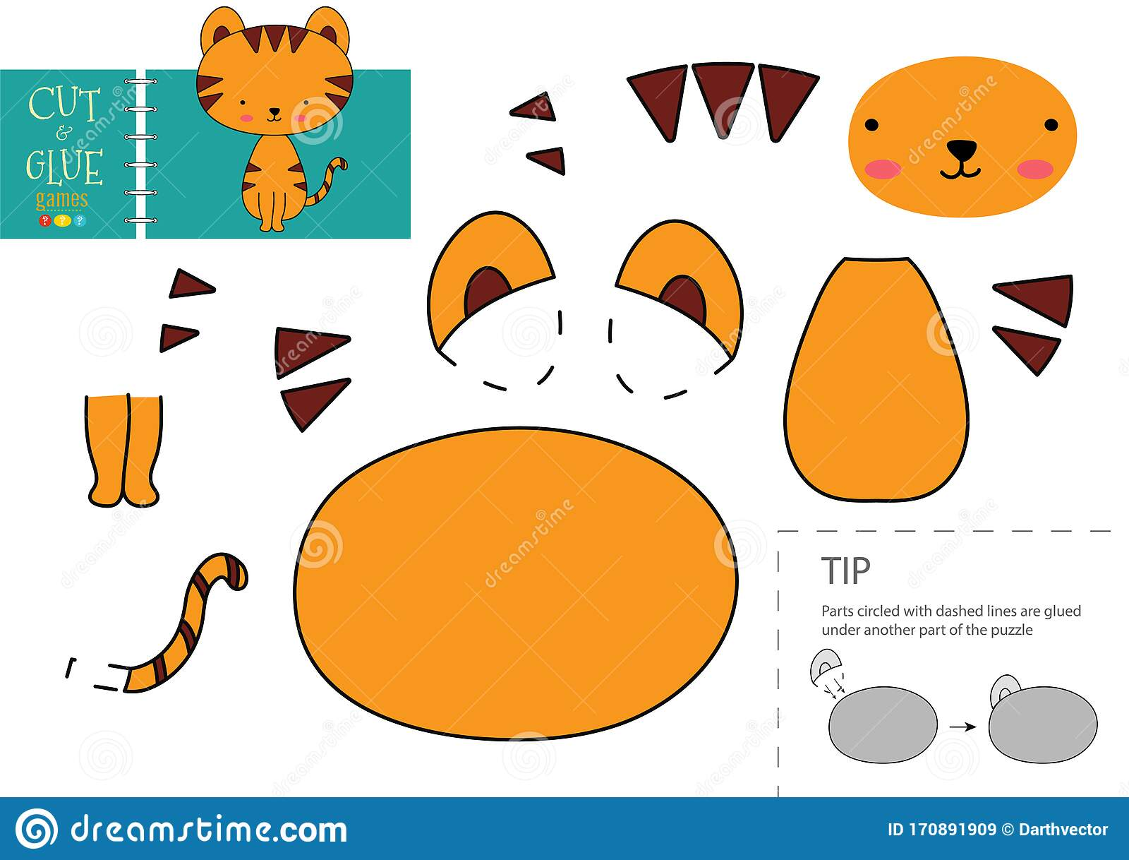 Cut And Glue Paper Vector Toy Cute Tiger Character As A