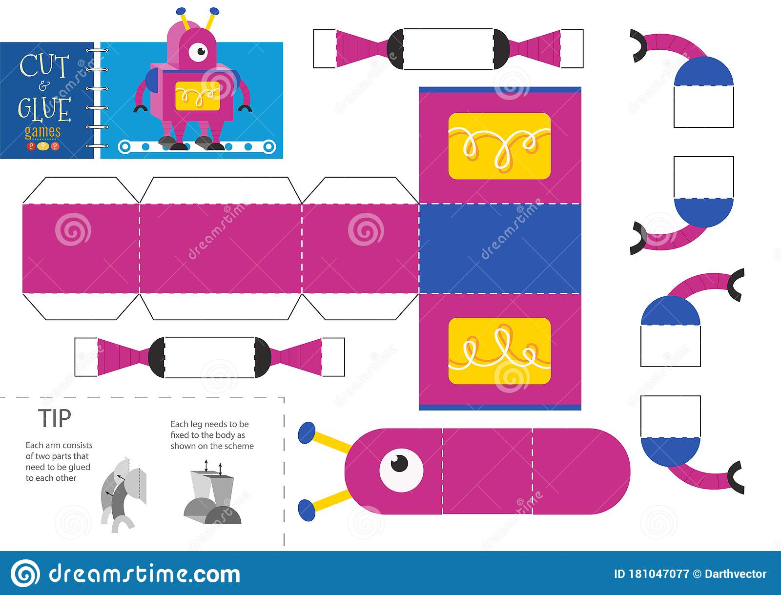 Cut And Glue Robot Toy Vector Illustration Paper Craft