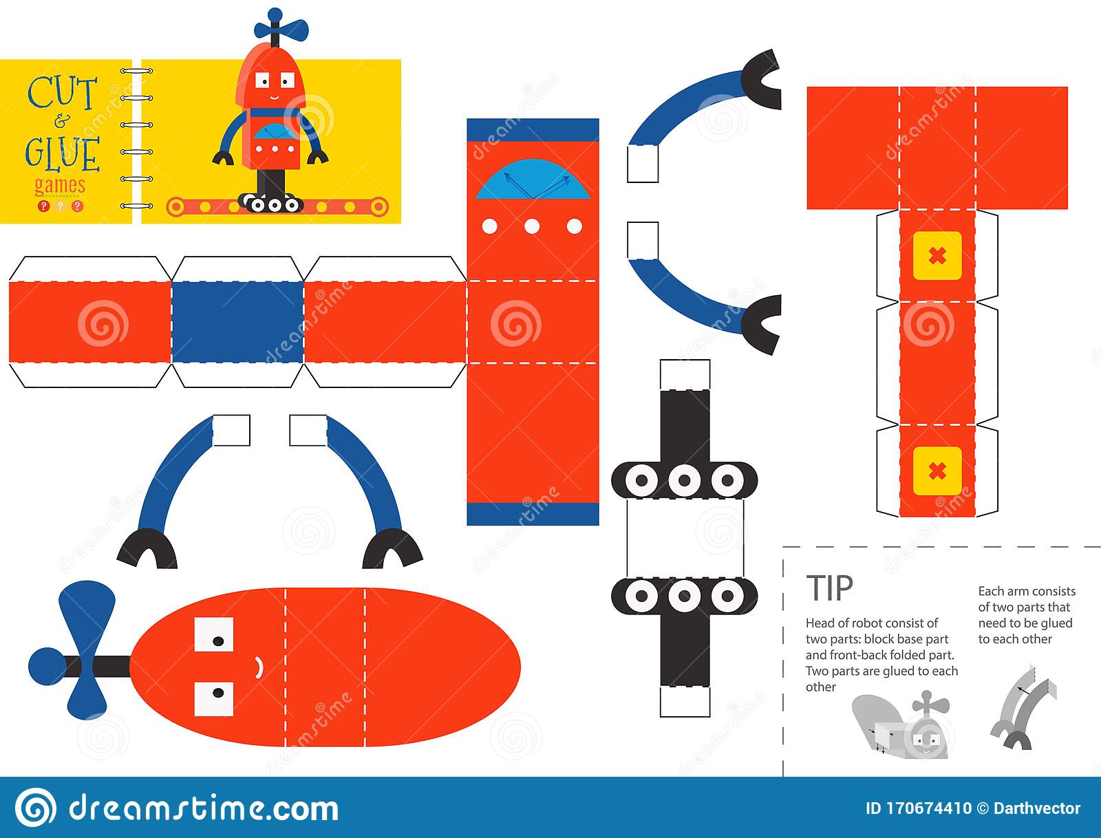 Cut And Glue Robot Toy Vector Illustration Worksheet