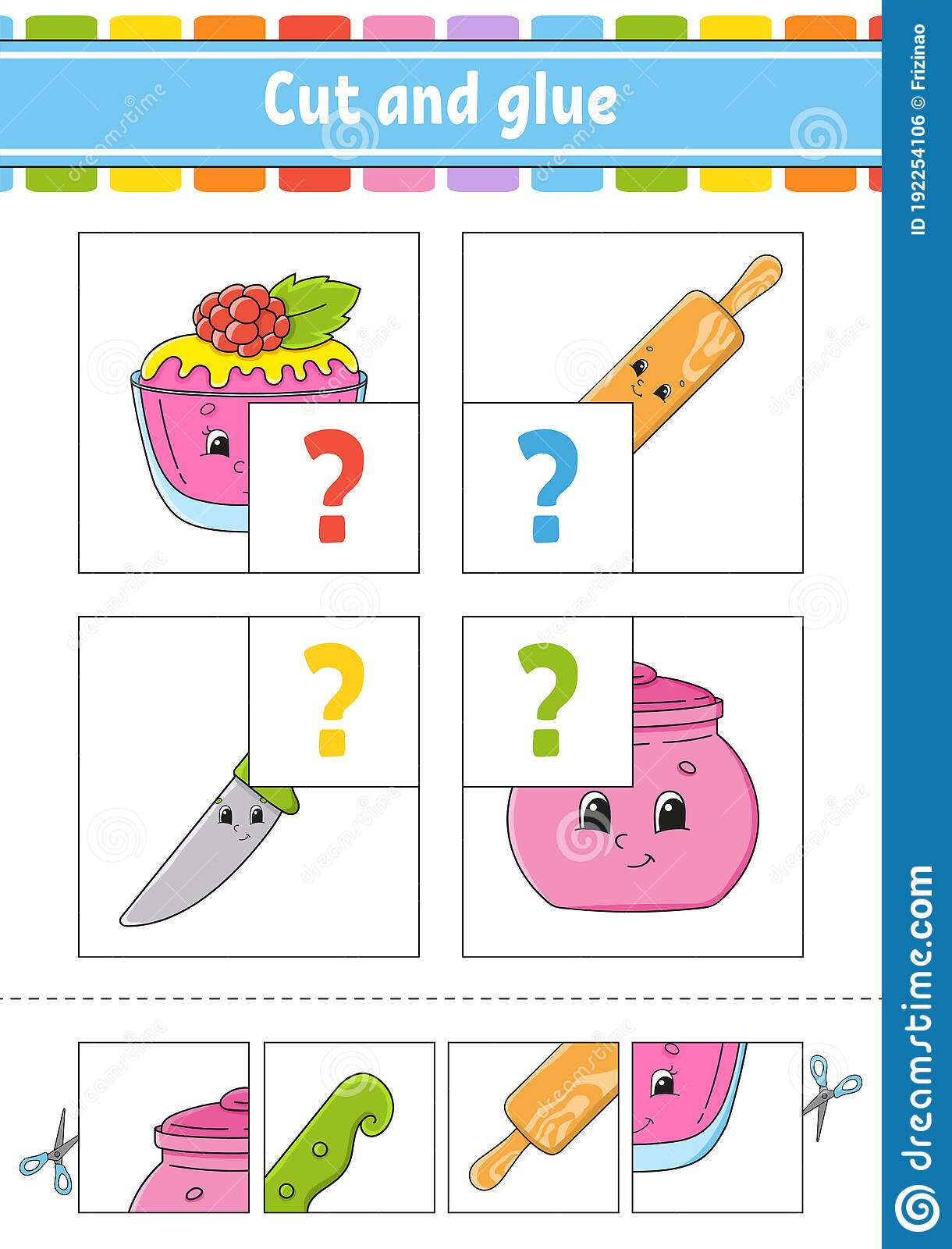 Cut And Glue Set Flash Cards Color Puzzle Education