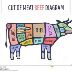 Beef Cuts Diagram Of Cow 12v 240v Caravan Wiring Cut Meat Set Poster Butcher And Scheme
