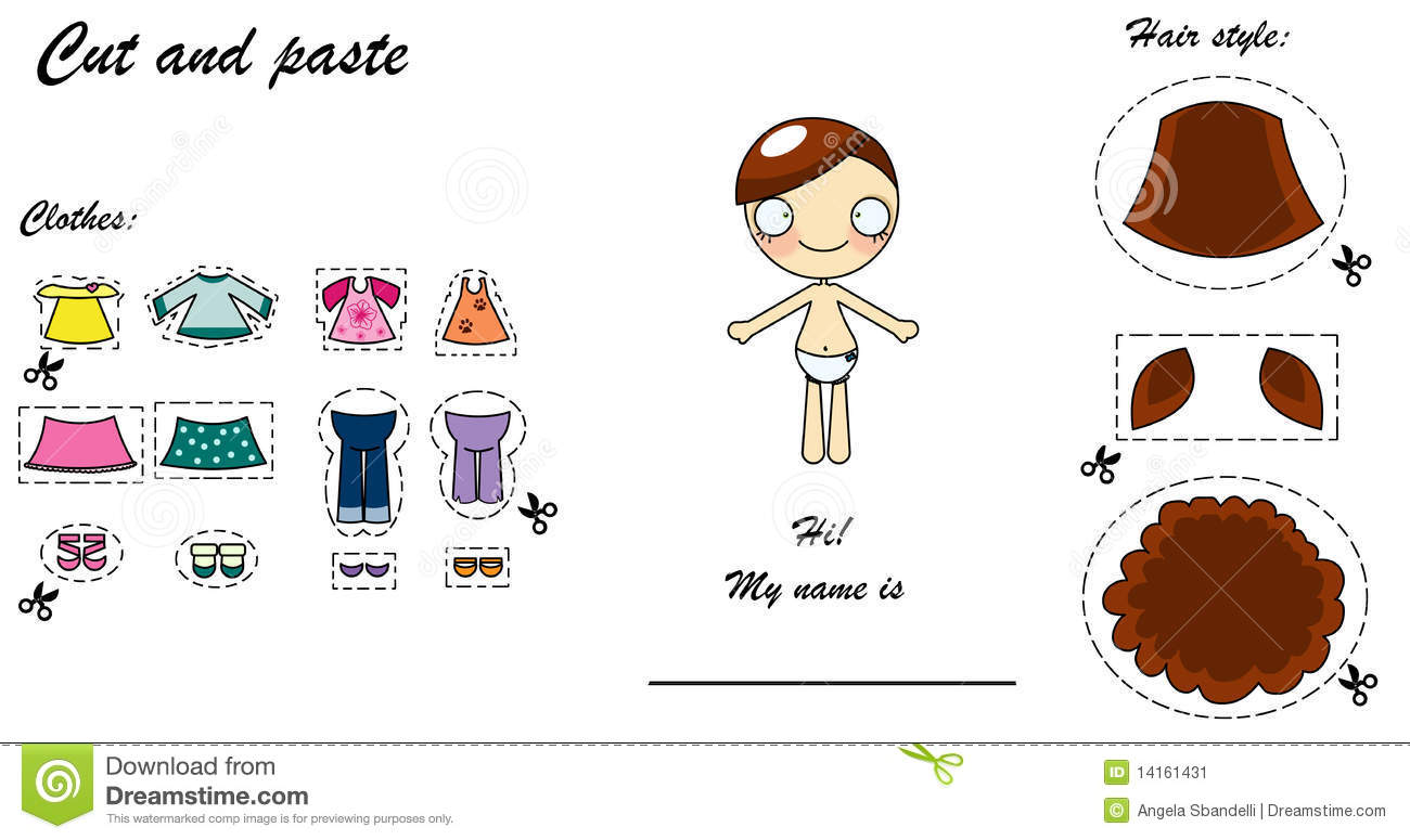 Cut And Paste Dress Doll Stock Illustration Illustration