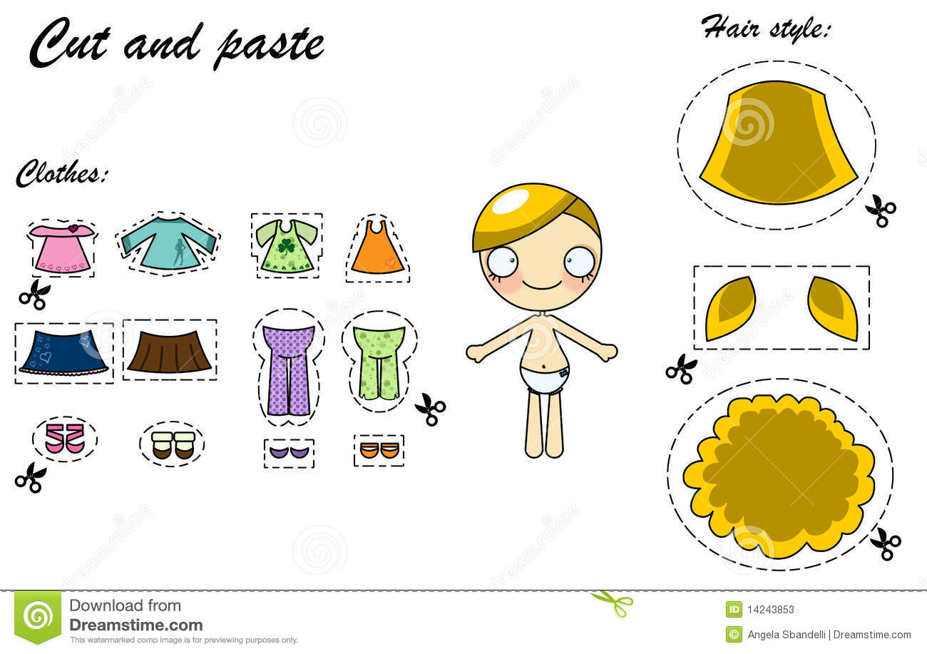 Cut And Paste Dress Doll Stock Illustration Image Of