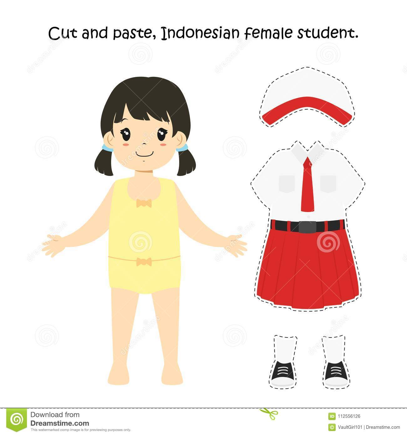 Cut And Paste Indonesian Female Student Uniform Vector Stock Vector