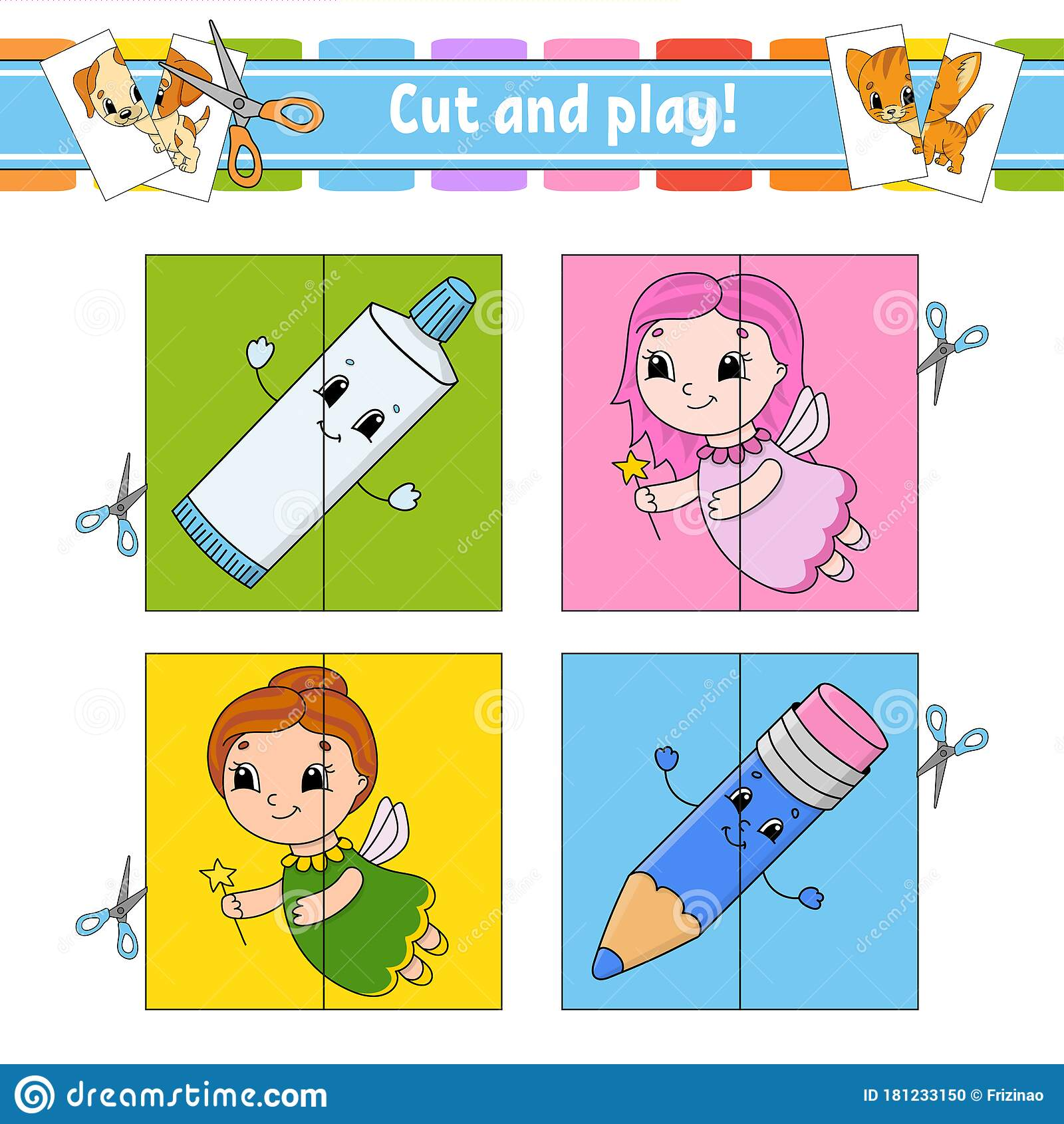 Cut And Play Flash Cards Color Puzzle Toothpaste Fairy