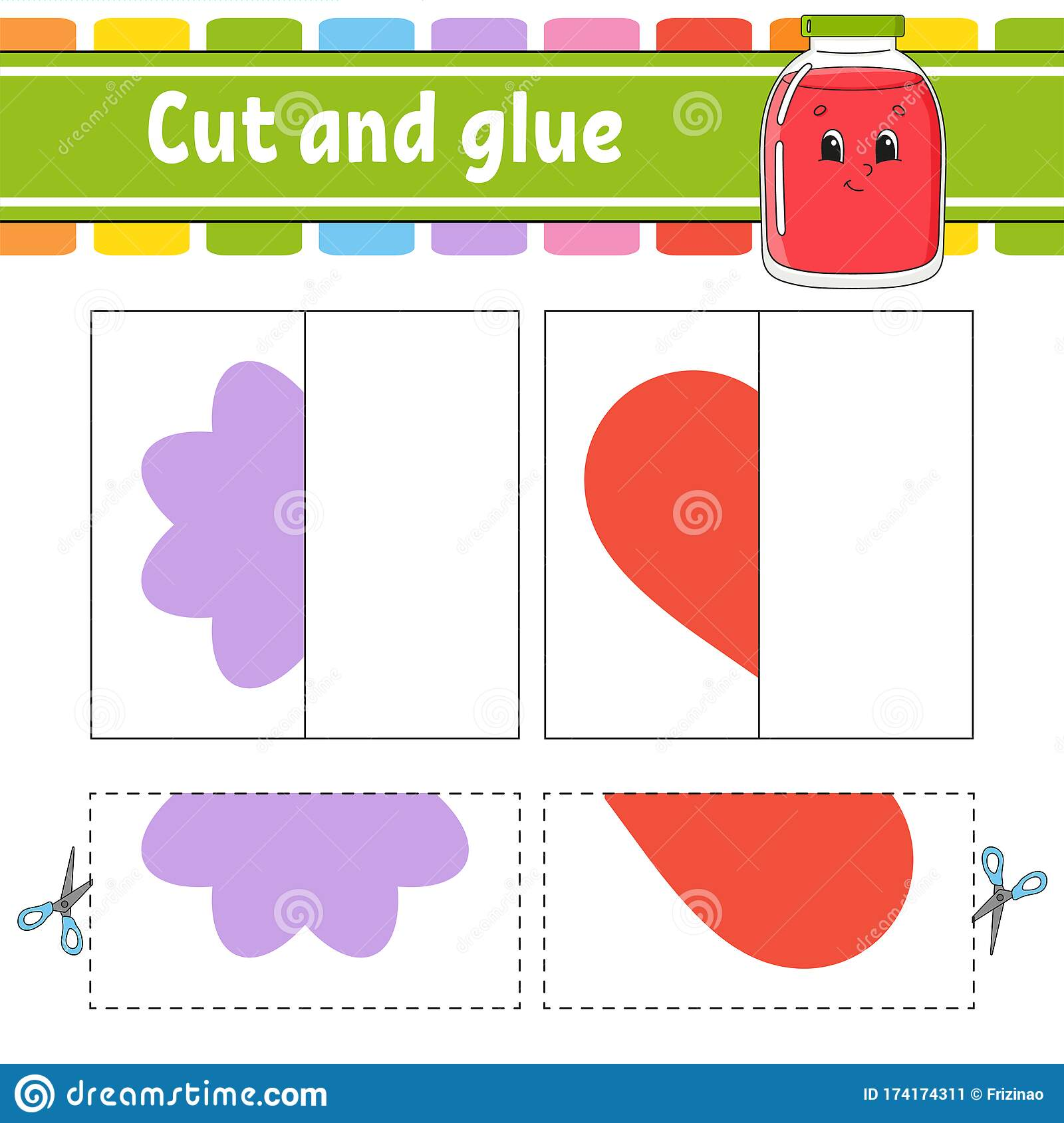 Cut And Play Paper Game With Glue Flash Cards Color