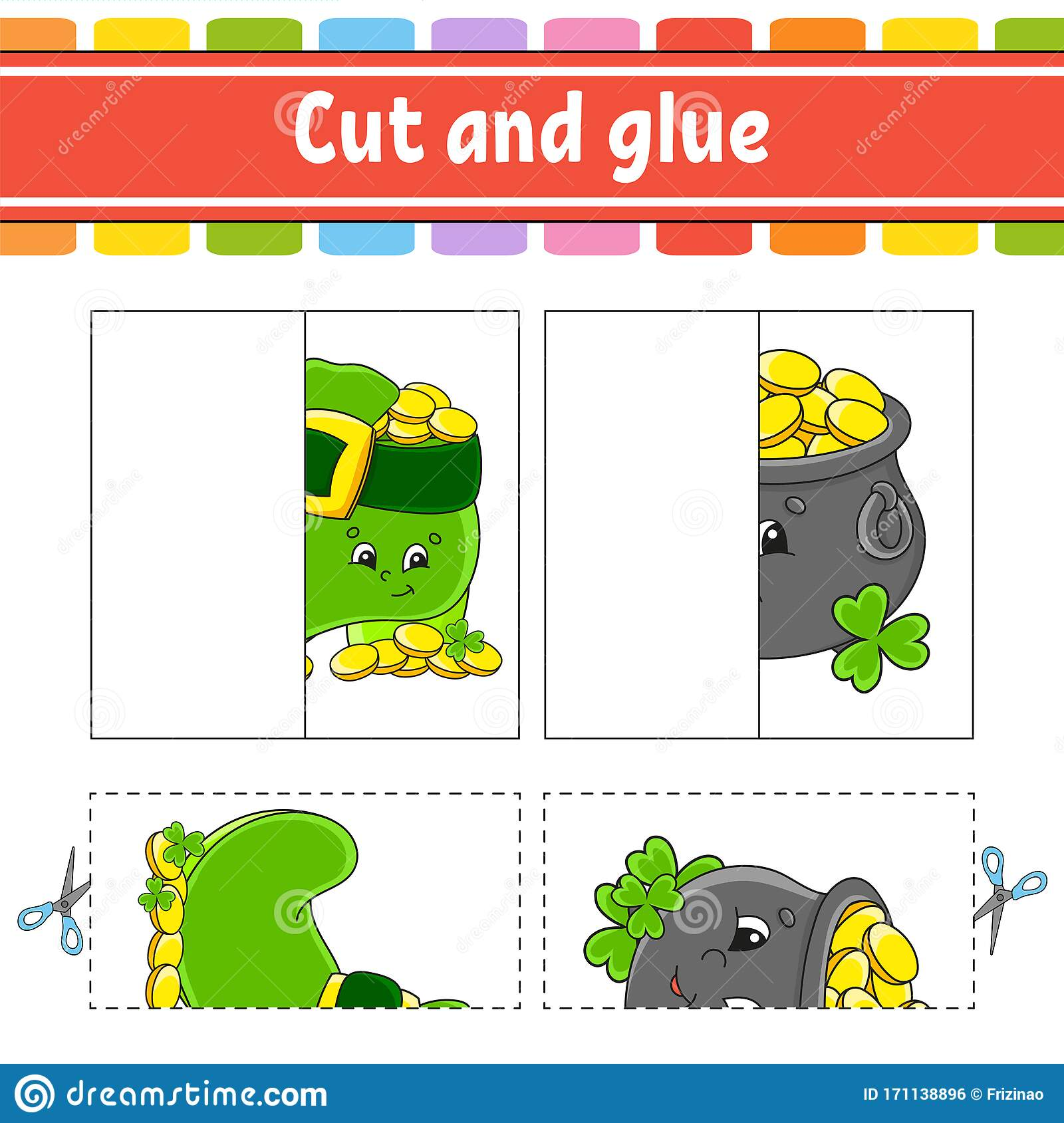 Cut And Play Paper Game With Glue Flash Cards Education