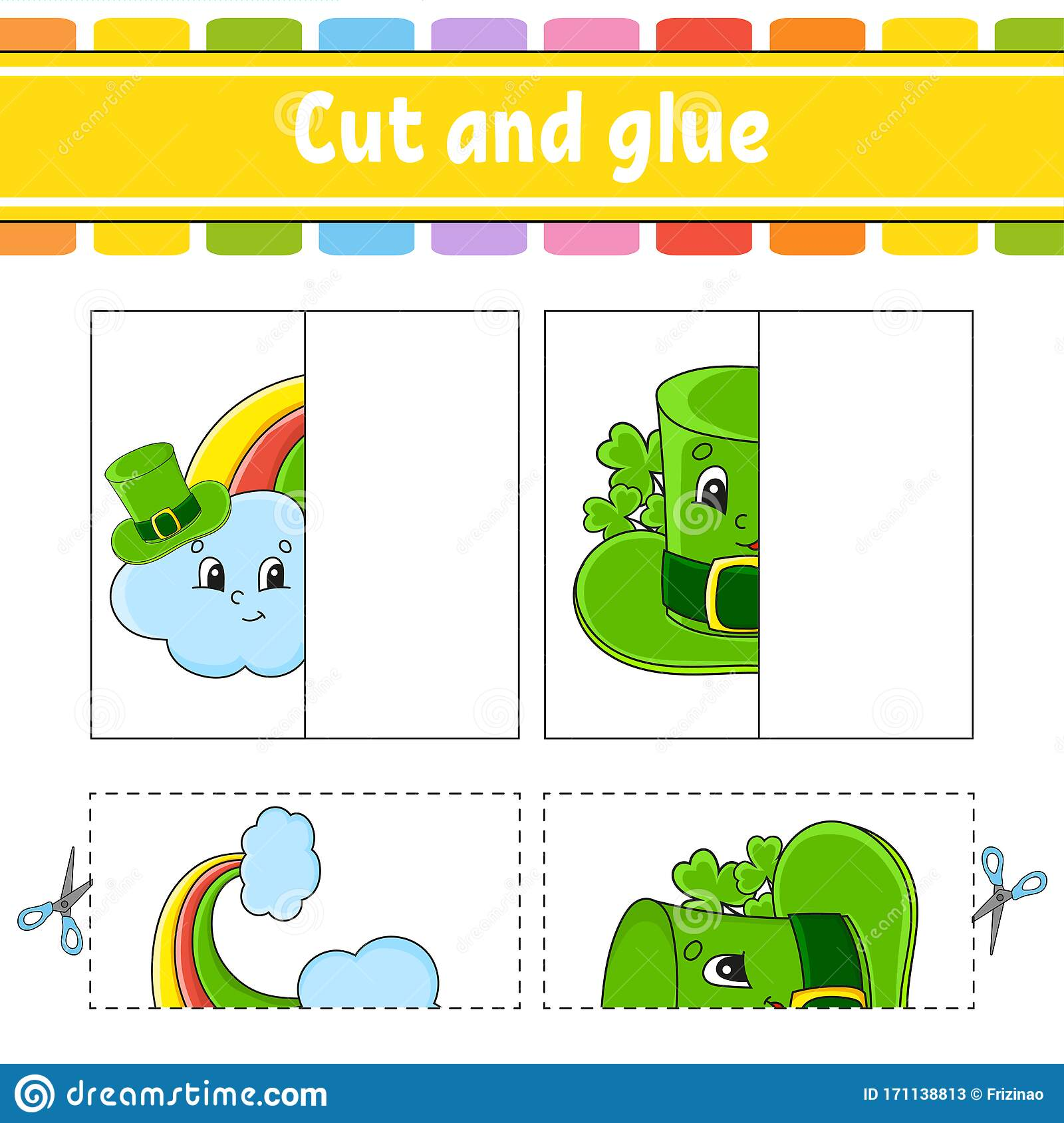 Cut And Play Paper Game With Glue Flash Cards Rainbow