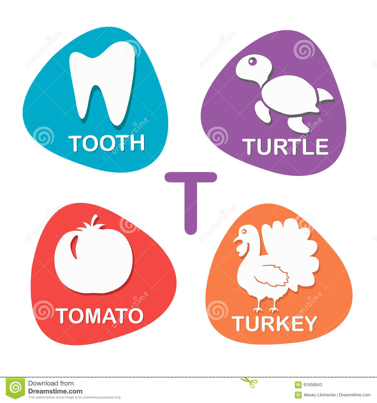 A Letter T For Tooth Vector Illustration