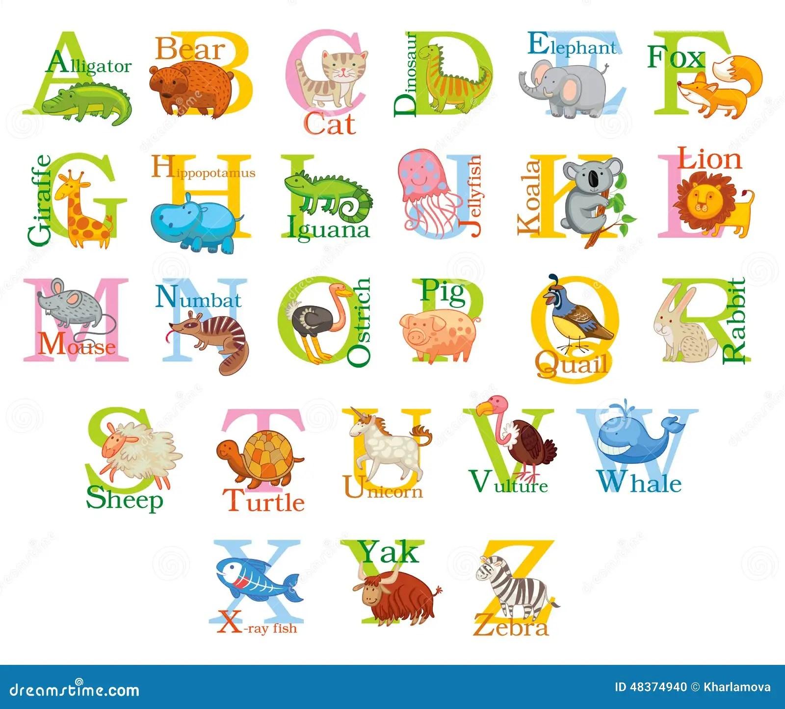 Cute Animal Alphabet Stock Vector Image Of Giraffe