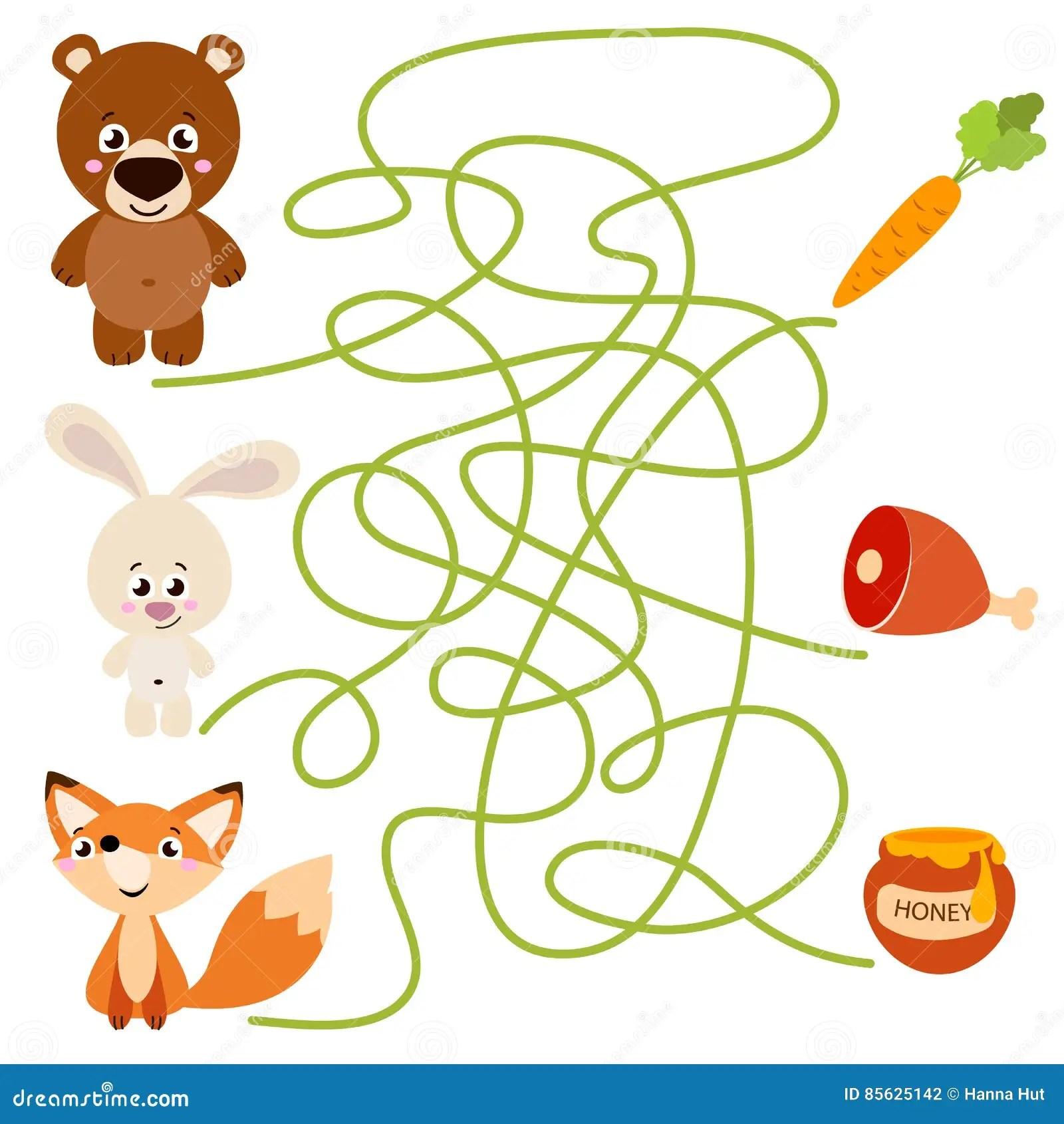 Cute Animal Educational Maze Game Stock Vector