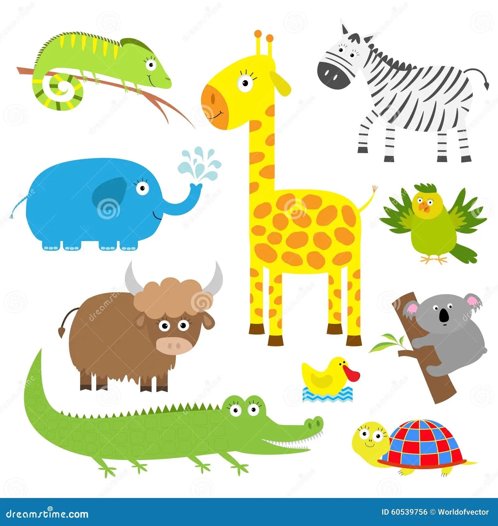 Cute Animal Set Baby Background Koala Alligator Giraffe Iguana Zebra Yak Turtle