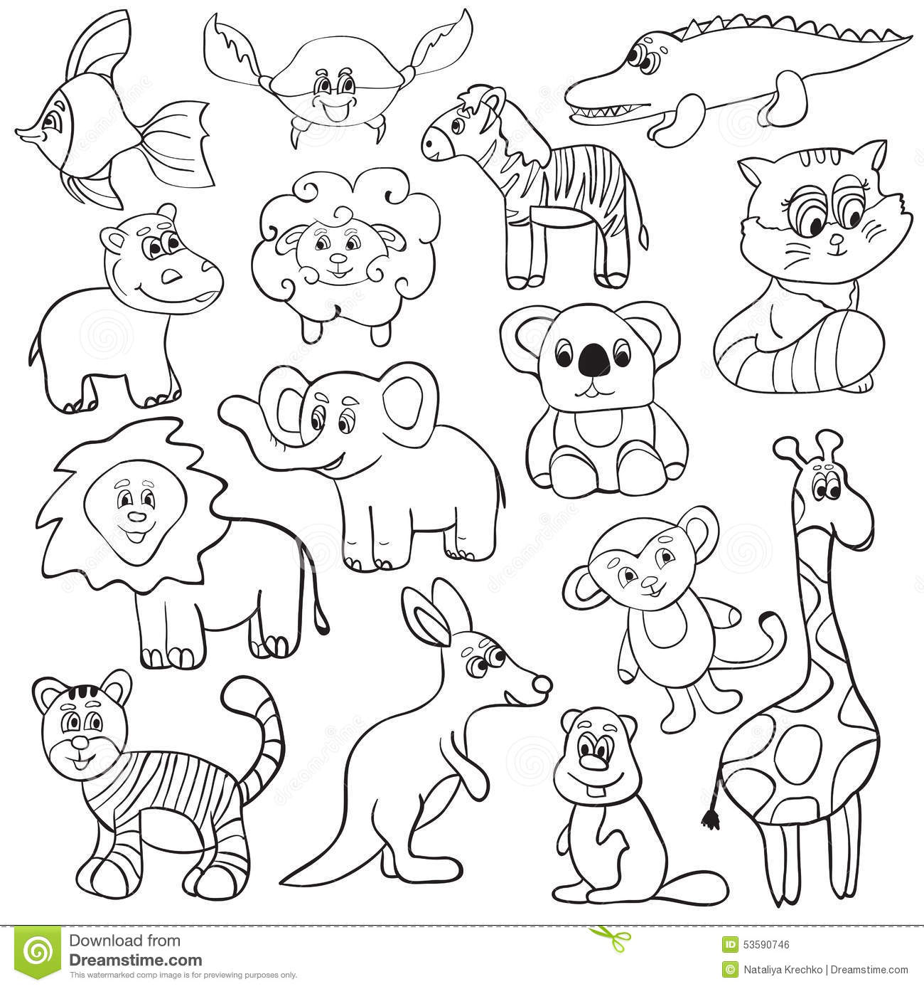 Cute Animal Set Stock Vector Illustration Of Offspring