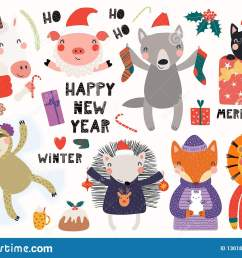 big set with cute animals doing winter christmas activities typography isolated objects on white background hand drawn vector illustration  [ 1600 x 1157 Pixel ]