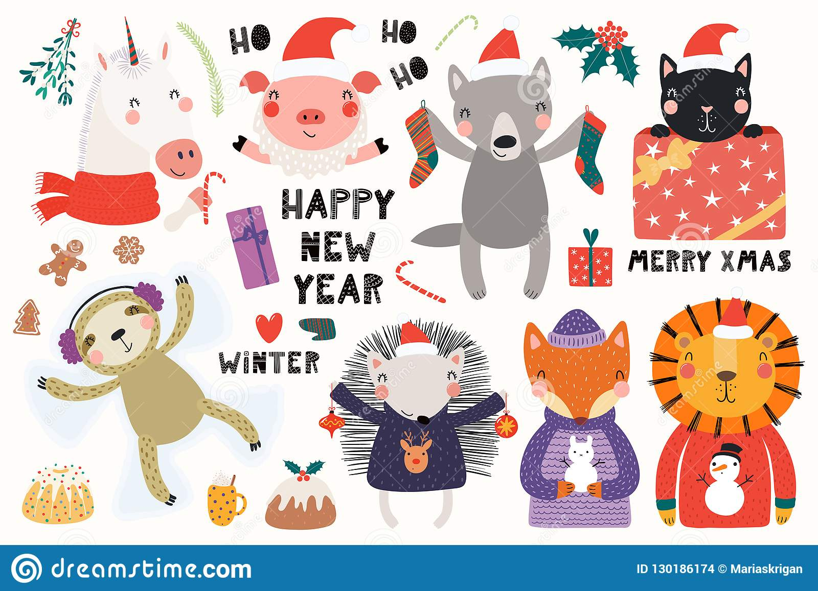 hight resolution of big set with cute animals doing winter christmas activities typography isolated objects on white background hand drawn vector illustration