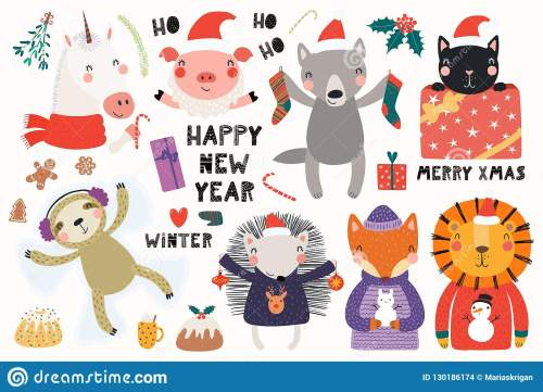 small resolution of big set with cute animals doing winter christmas activities typography isolated objects on white background hand drawn vector illustration