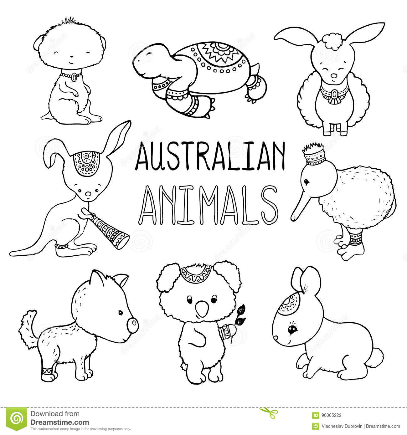 Cute Australian Animals Outlined Drawing Animals Of