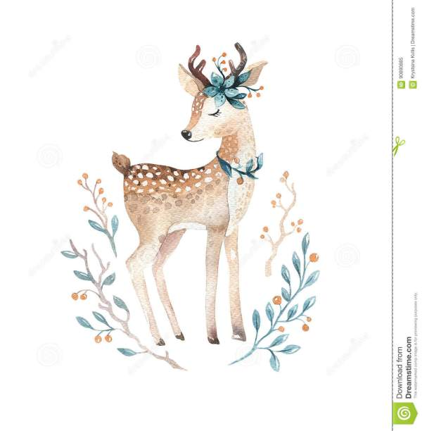 Cute Baby Deer Animal Kindergarten Nursery Isolated Illust Stock Illustration
