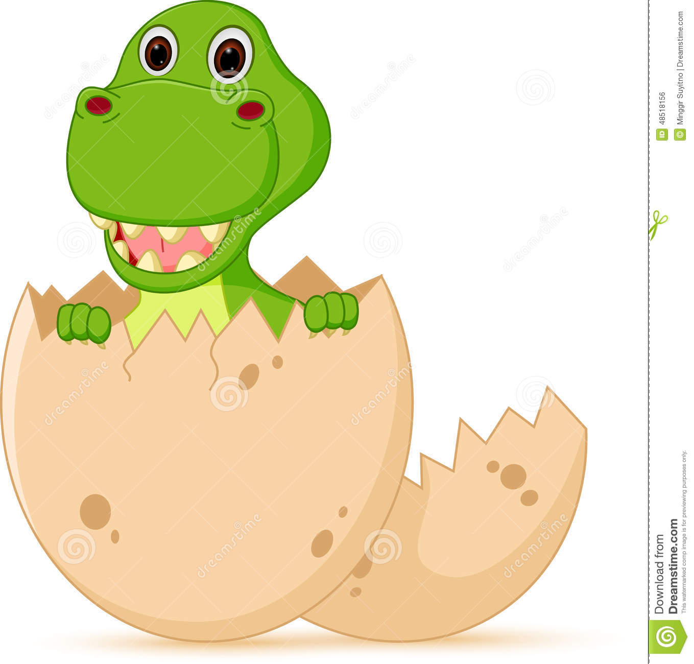 Cute Baby Dinosaur Cartoon Hatch Stock Vector