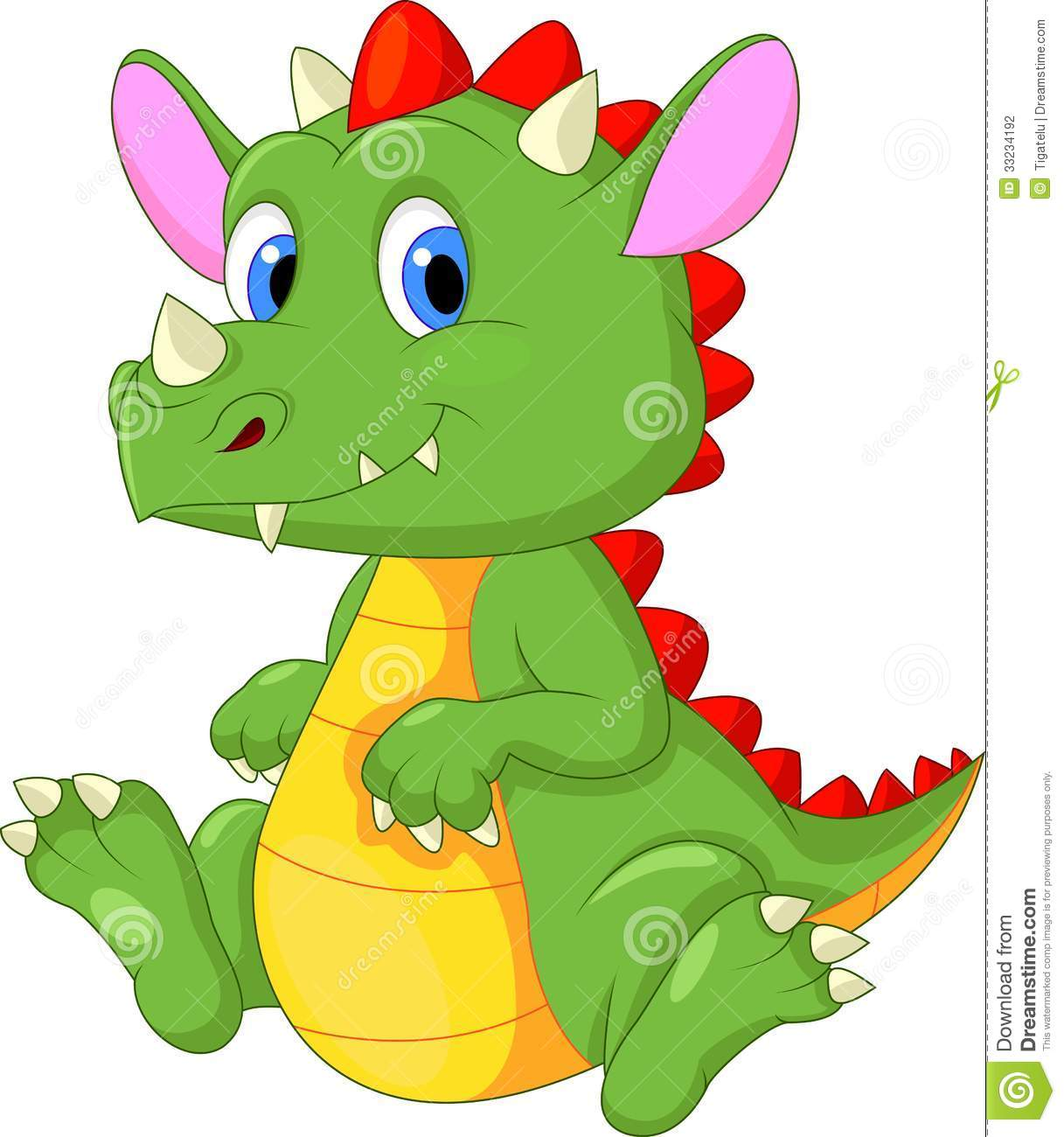 Cute Baby Dragon Cartoon Illustration 33234192 Megapixl