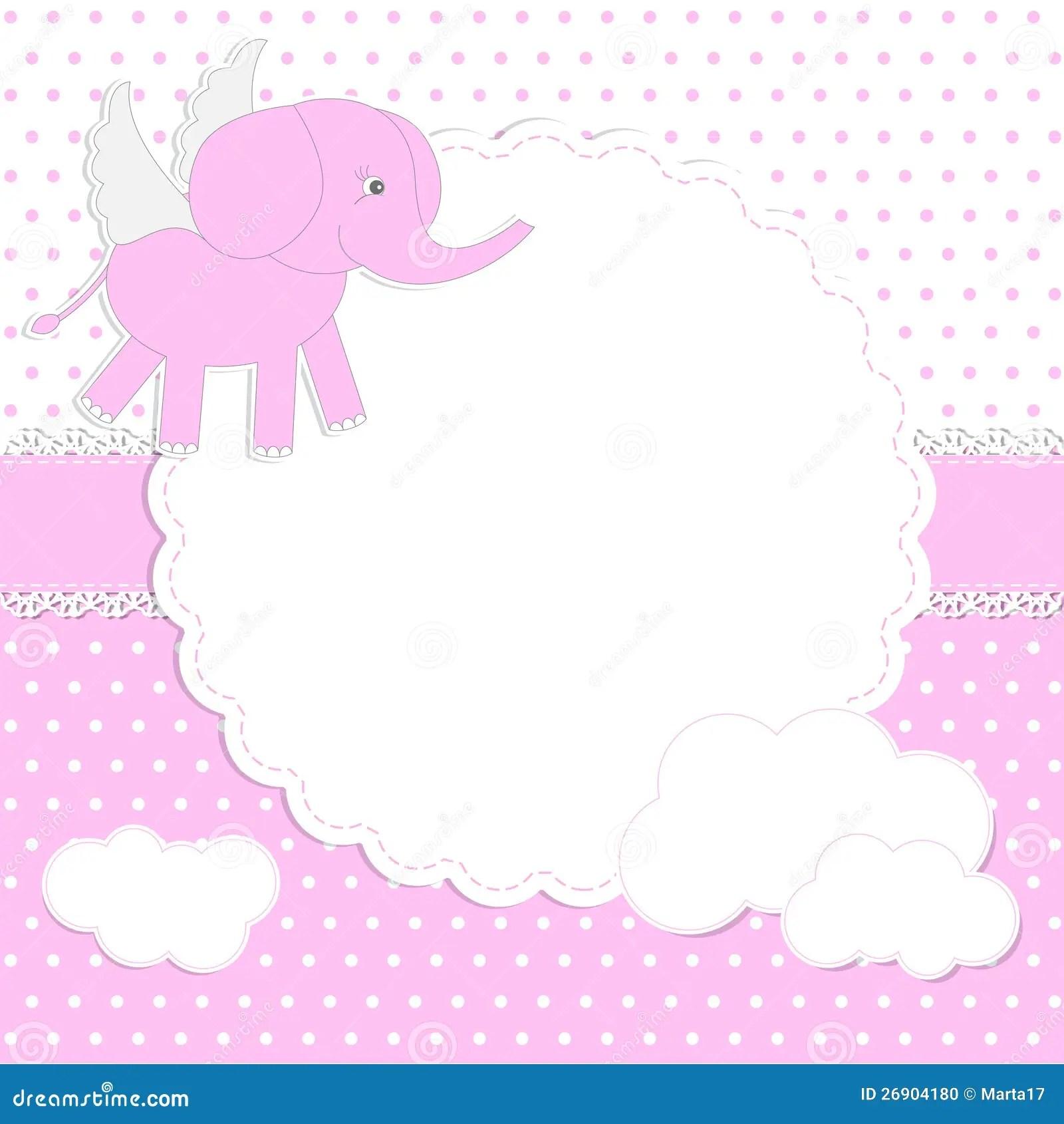 Cute Newborn Baby Girl Wallpaper Cute Baby Girl Card Stock Vector Illustration Of Cloud