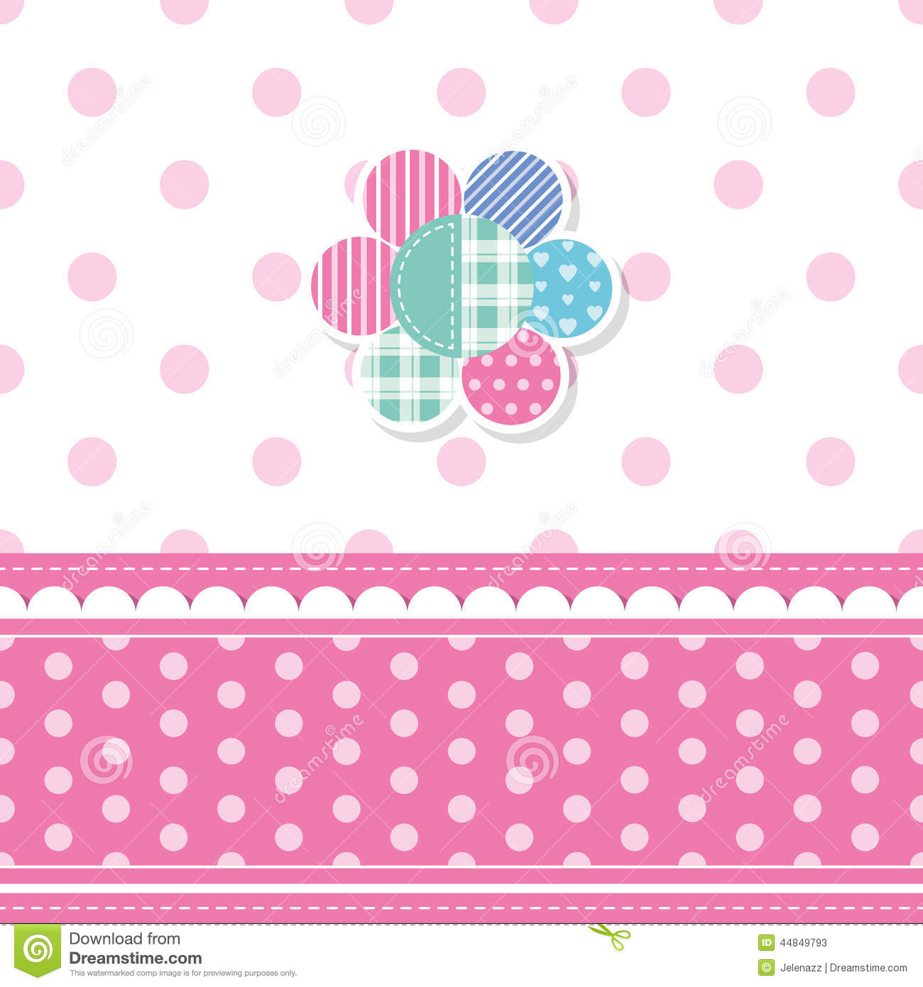 Cute Baby Girl Greeting Card Stock Vector Image 44849793