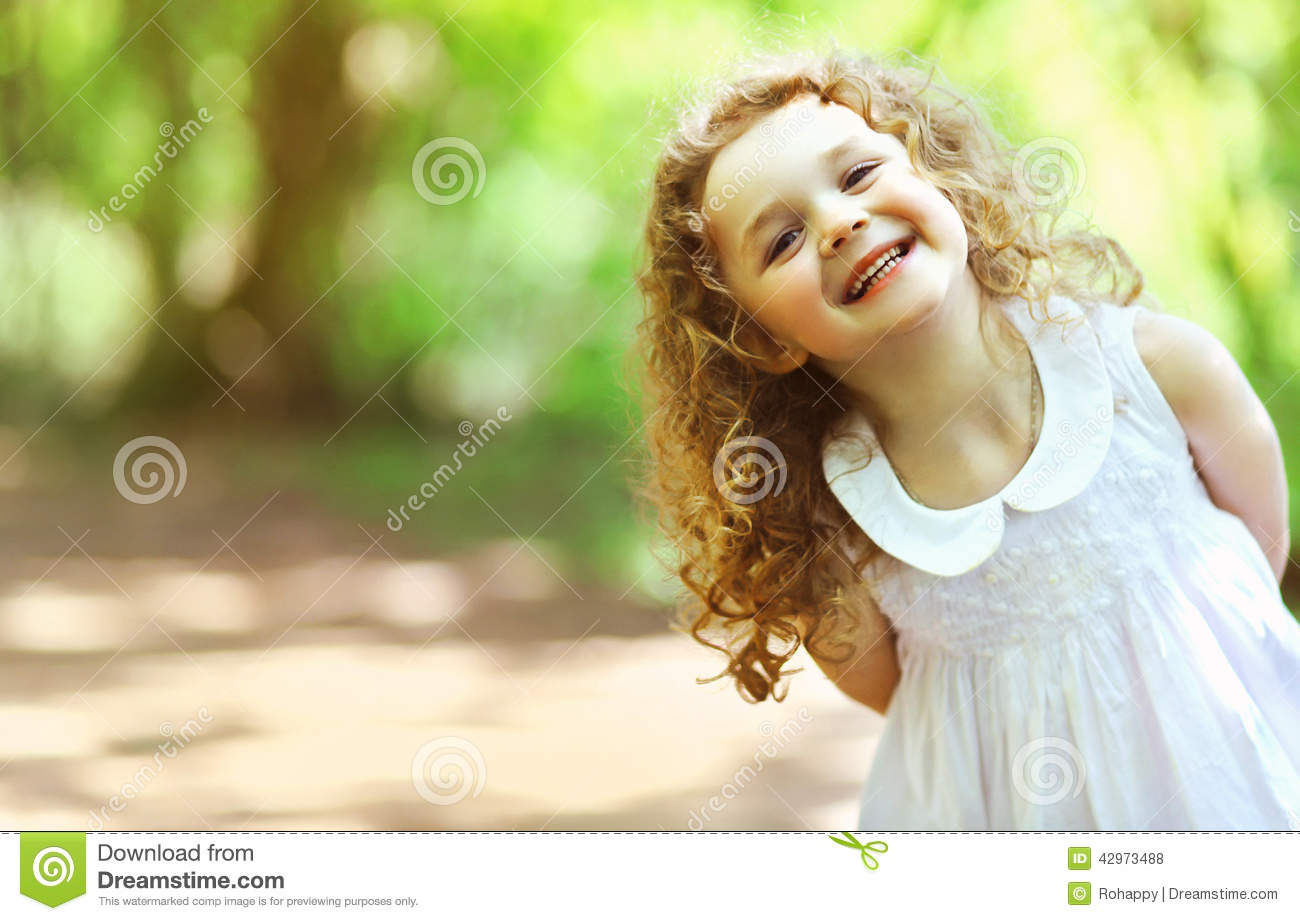 Very Cute Baby Laughing Wallpaper Download Cute Baby Girl Shone With Happiness Curly Hair Stock