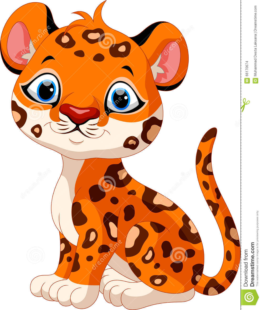 hight resolution of cute baby leopard cartoon sitting