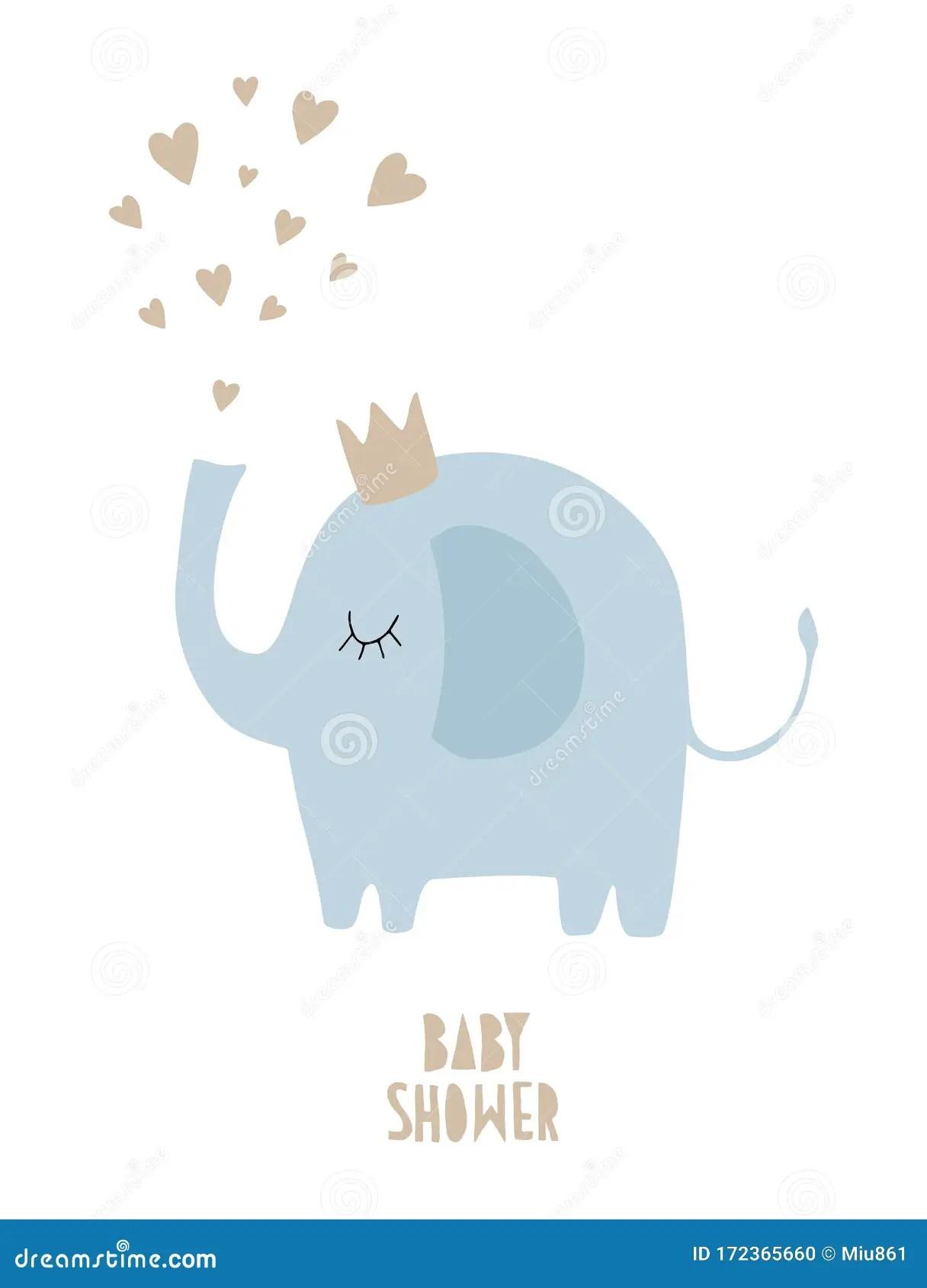 Baby Elephant Background : elephant, background, Shower, Vector, Illustration, Funny, Drawn, Elephant, Isolated, White, Background., Stock, Decor,, Cute:, 172365660