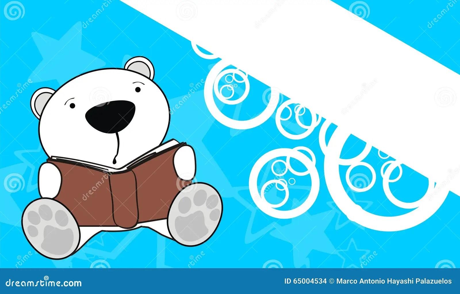 Cute Baby Teddy Polar Bear Reading Cartoon Background