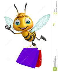 cartoon shopping bag bee character cute illustration rendered 3d