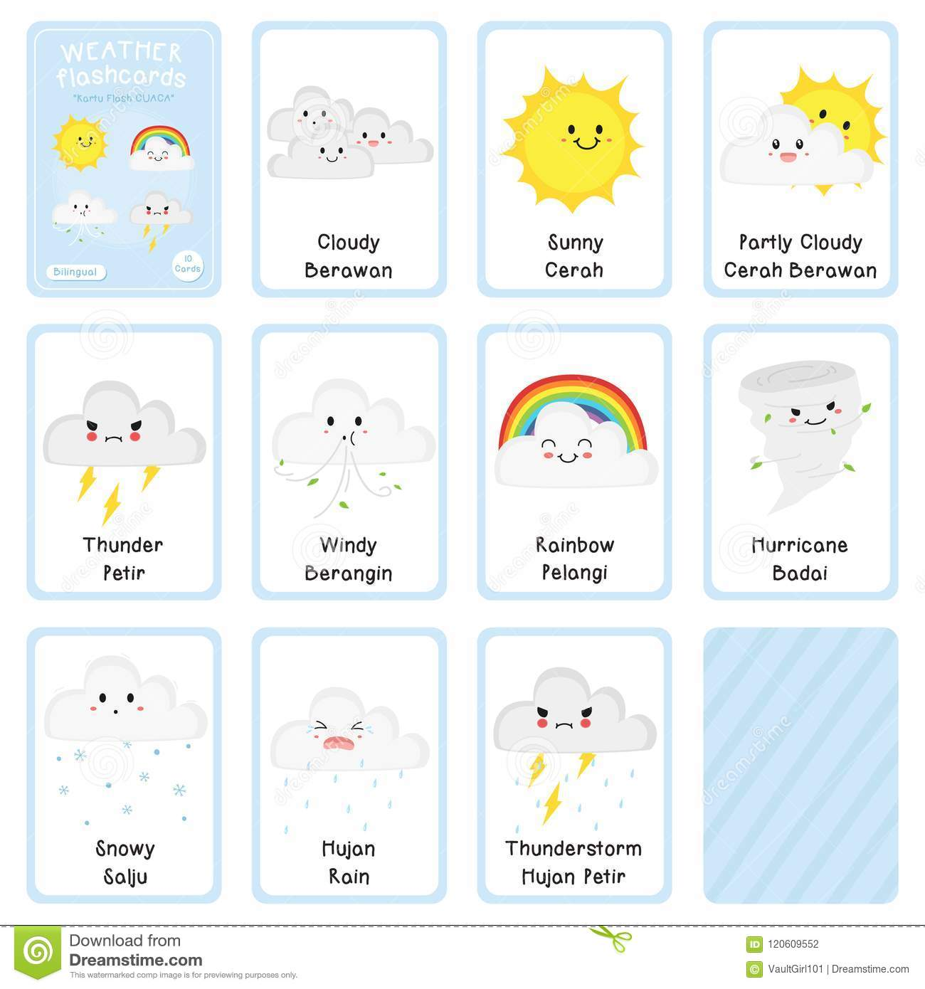 Cute Bilingual Weather Flashcard Vector Design Stock