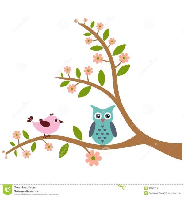 Cute Bird And Owl With Tree Pattern Stock Vector - Illustration Of Animal Leaf 30675716