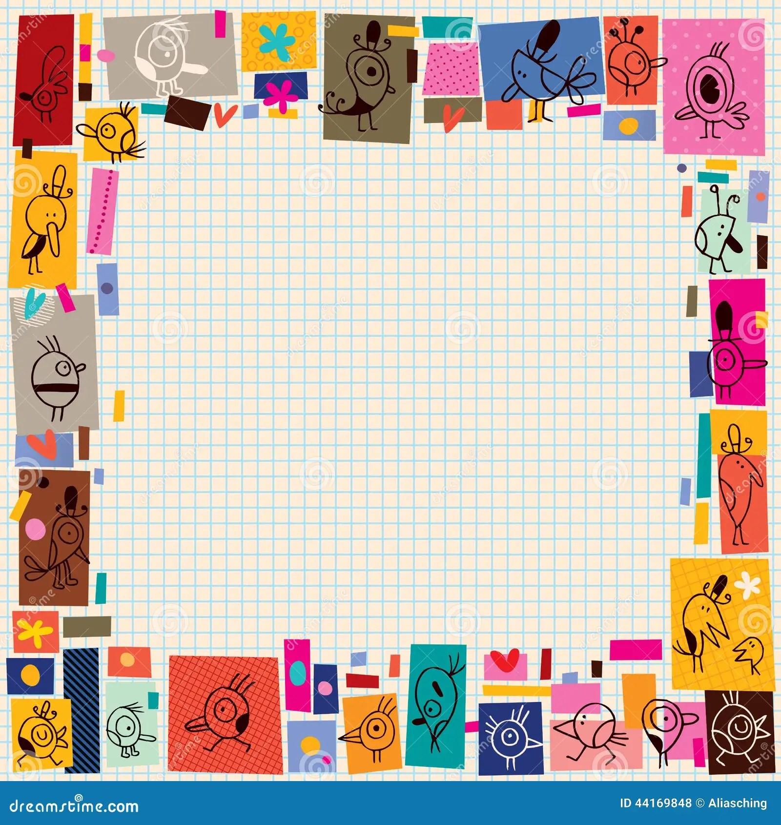 Cute Birds Collage Cartoon Doodle Border Stock Vector