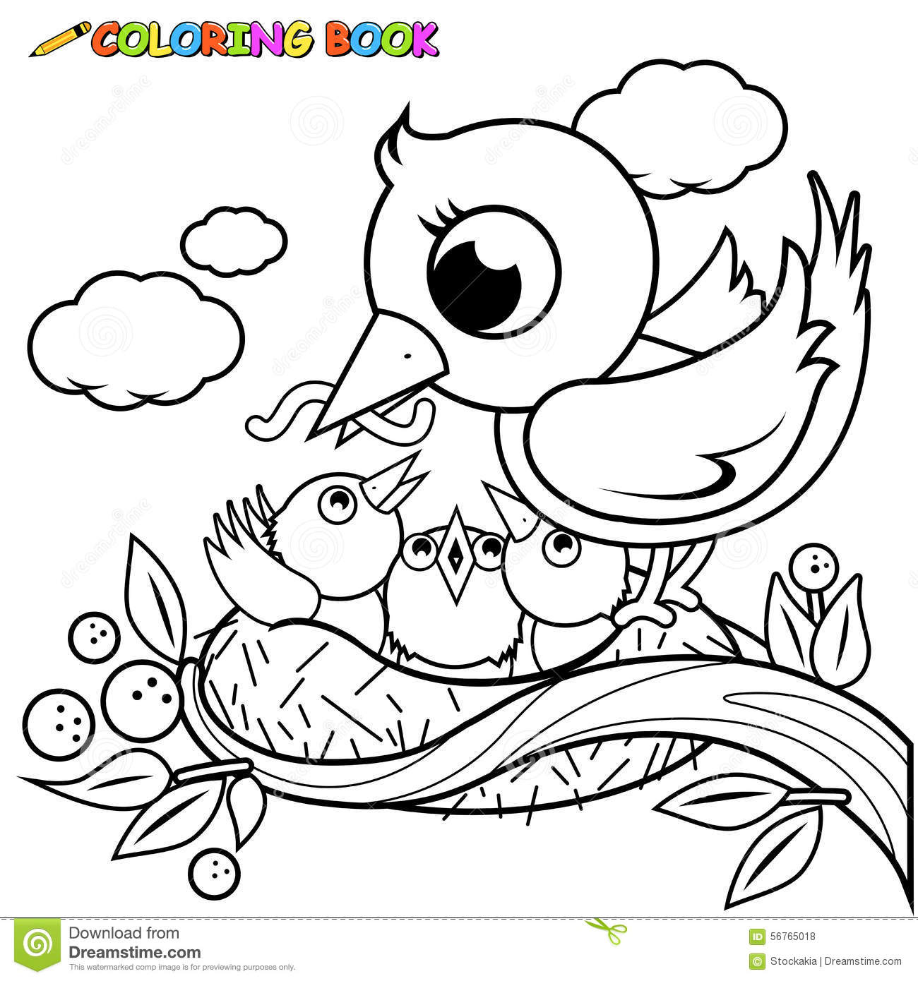 Cute Birds In The Nest Coloring Book Page Stock Vector