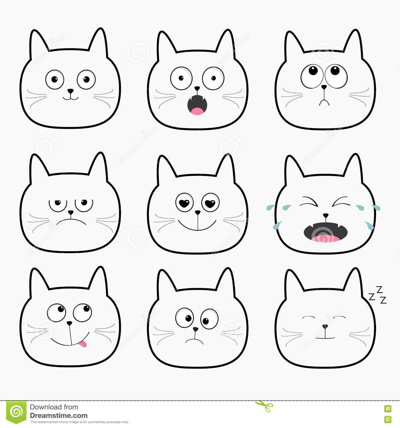 Cute Black Cat Head Set Funny Cartoon Characters Different Emotions Faces Collection Vector