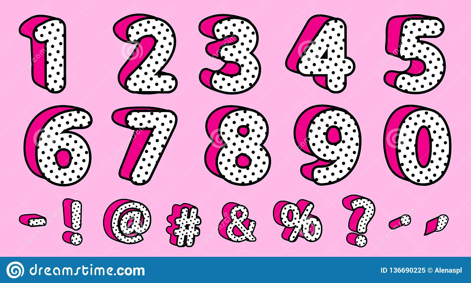 Cute Black Polka Dots 3d Set Of Numbers And Signs Vector